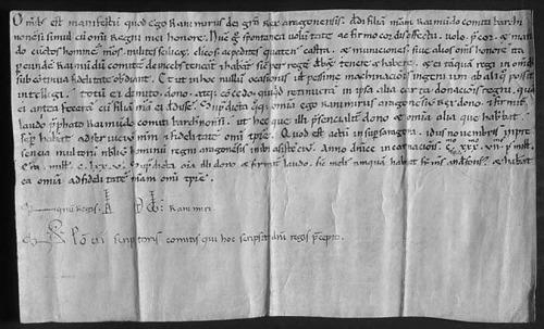 1137 Comunicado de Ramiro de Aragon a sus subditos de la donacion de la hija y del reino al conde de Barcelona BN
