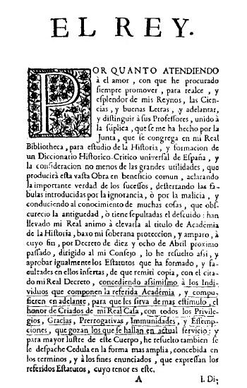 1738 Real Academia de la Historia